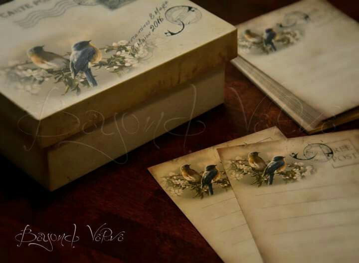 Carte postale wish cards with box - Lovebirds - Vintage wedding stationery - Beyond Verve