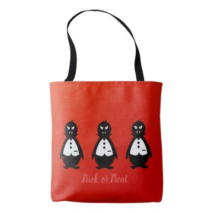 Three Vampire Penguins VZS2 Fiery Red Tote Bag - animal gift ideas animals and pets diy customize