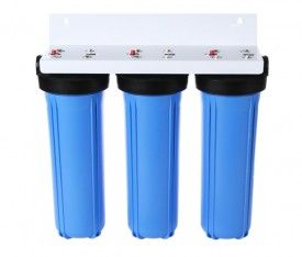 """Whole House Big Blue High Flow Triple 20"""" x 4.5"""" Water Filter System"""