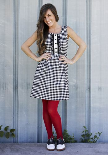I need this outfit. Stylish Ever Crafter Dress, red tights and Who Could Be Saddle Shoes