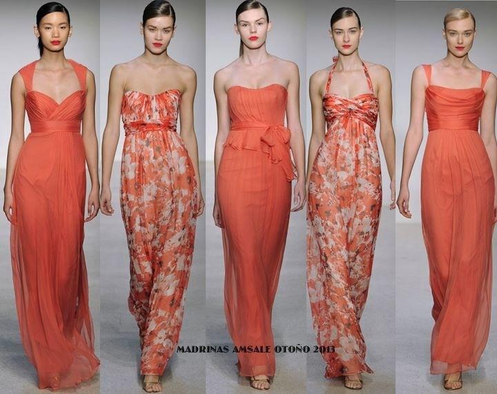 Damas de honor en color mandarina, muy fresco y juvenil...