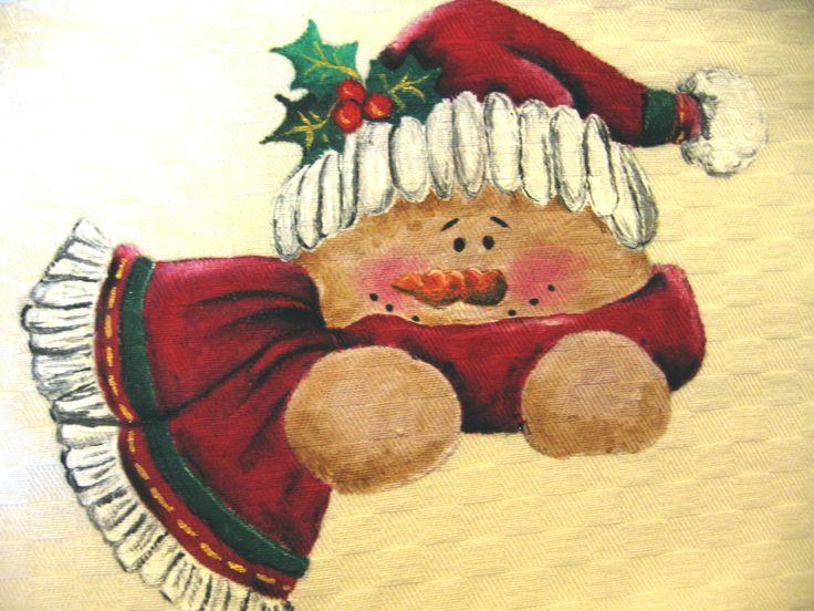 Natale country painting - pupazzo di neve vestito da Babbo Natale