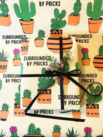 Surrounded by Pricks Wrapping Paper Sheet - The Coin Laundry Print Shop
