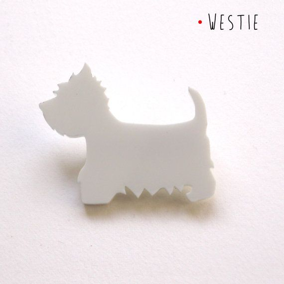 Spilla Westie in metacrilato bianco per amanti di DARQCREATIONS