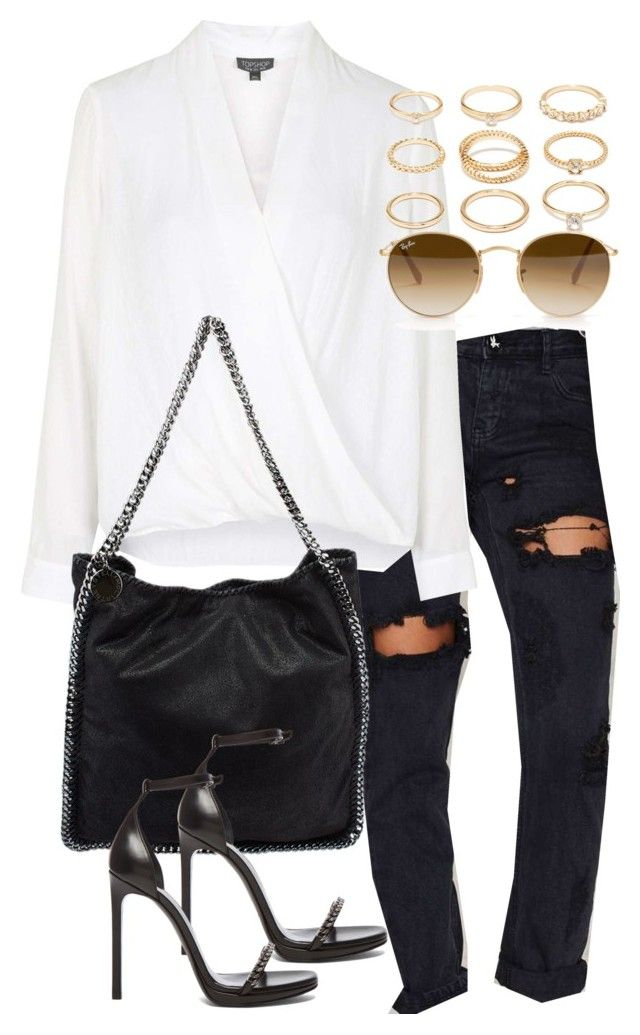 """""""Untitled #1508"""" by mariie00h ❤ liked on Polyvore featuring One Teaspoon, Topshop, Yves Saint Laurent, Ray-Ban, Forever 21 and Inspired"""