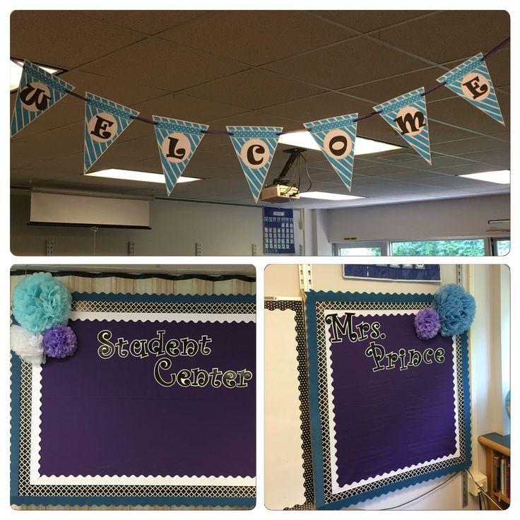 Purple black blue white classroom decor                                                                                                                                                     More