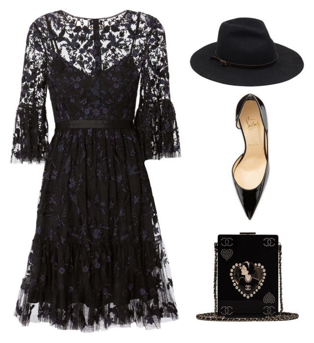 """Let's wear black"" by eirenechoo on Polyvore featuring Needle & Thread, Christian Louboutin and Chanel"