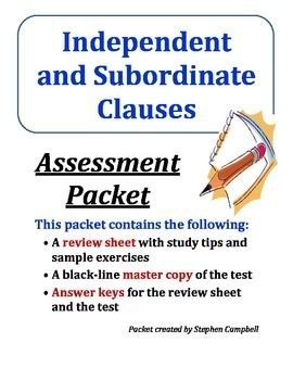 9 best middle school grammar images on pinterest middle school independent and subordinate dependent clauses quiz assessment packet dependent clausemiddle school ccuart Choice Image