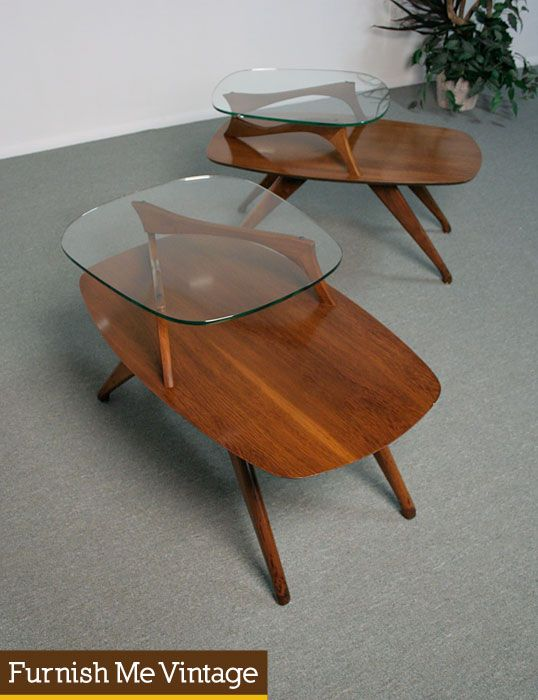 2 Mid Century Modern Two Tier Retro Pearsall Style End Tables