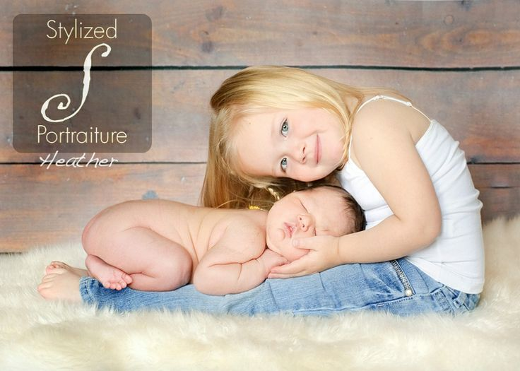 Newborns with siblings or family stylized portraiture child photography