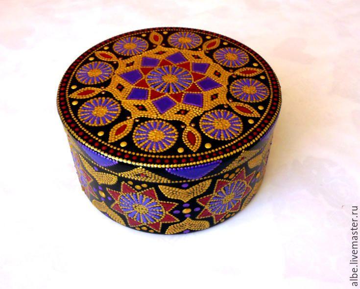 Купить Шкатулка Виола точечная роспись - золотой, фиолетовый, черный фон, деревянная шкатулка