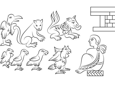 Aztec Animals Coloring page