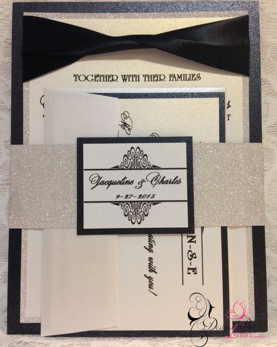 Tuxedo Inspired Black White and Silver Wedding Invitation Suite by CustomDesignsByLauri on Etsy