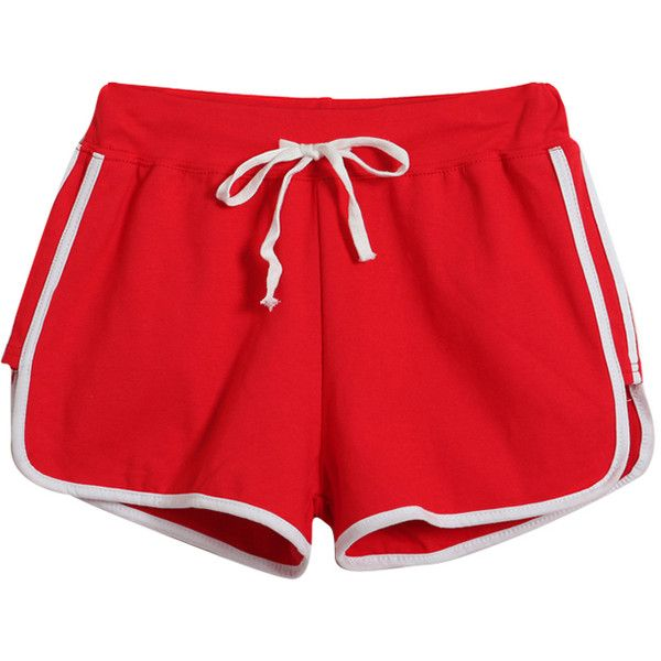 Chicnova Fashion Contrast Color Bound Shorts ($11) ❤ liked on Polyvore featuring shorts, bottoms, pants, short, short shorts and cotton shorts