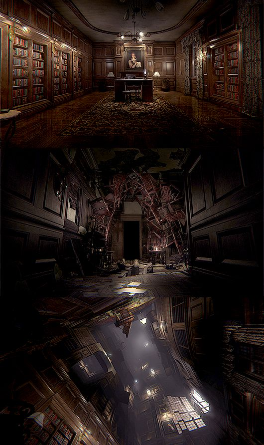 Horror Game Environment Concept: tall, looking into oblivion, stacking (Layers Of Fear)