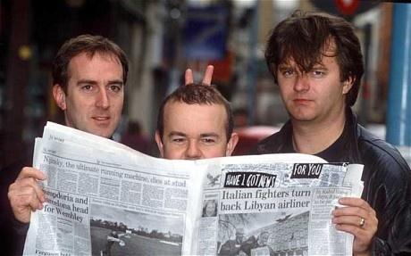 Ian Hislop with Angus Deayton, the original host of Have I Got News For You, and Paul Merton, in 1992