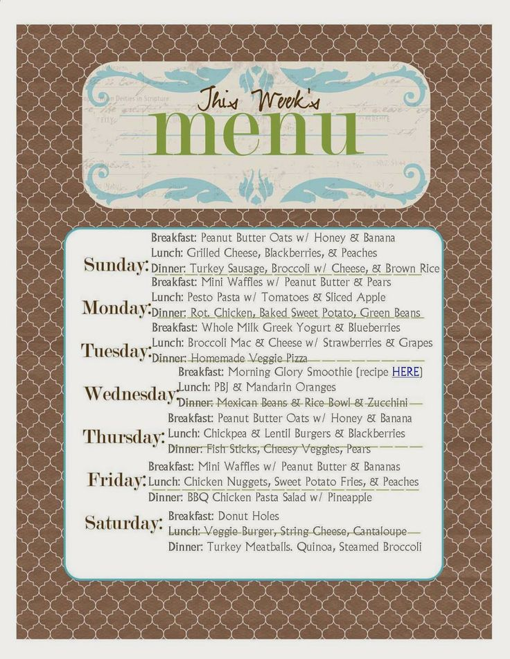 We EAT | Toddler Weekly Menu Plan