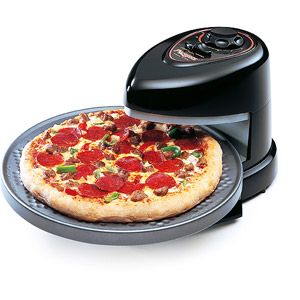 Presto Pizza Pazzazz Pizza   And Snack Machine.  Cooks top or both sides of food.  No hot ovens, no turning of food, no preheating. It will make you want to open your own restaurant.  Your friends will think you already dId.