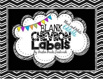 Black and White Editable Chevron Labels Freebie!