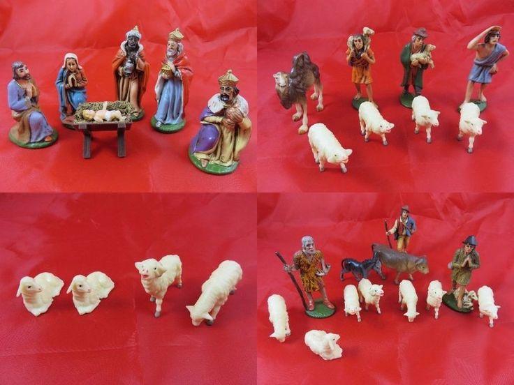 30 x Alte Krippenfiguren Heilige 3 Könige mit Zeugen von Geburt Jesus  Es sind 30 insgesamt Figuren, Krippenfiguren  Sind aus der 50/60 Jahren, Deutschland
