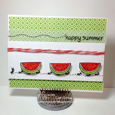 Cat Luvs Paper | Watermelon Card with Lawn Fawn 'Happy Summer'