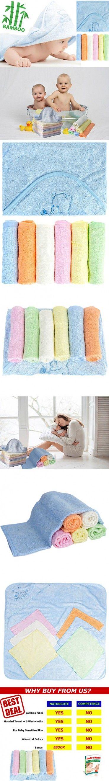 NaturCute Bamboo Baby Hooded Towel and 6 Washcloths Set - Blue