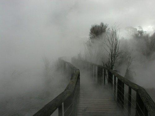 Fotografía, puente, niebla, grunge, solitario, tenebroso, silencio, bosque, lago, río, mundo