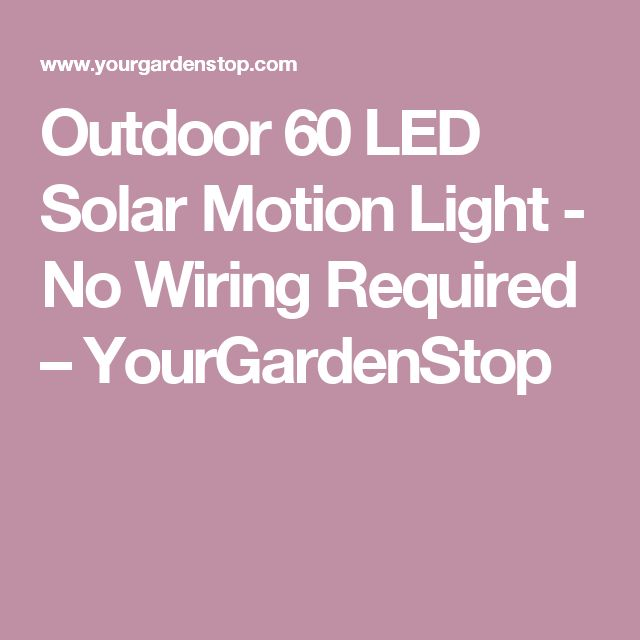 Outdoor 60 LED Solar Motion Light - No Wiring Required – YourGardenStop