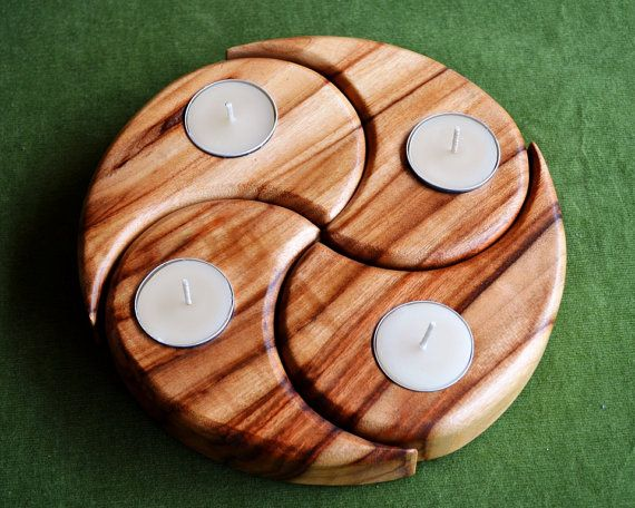 Celebrate advent and the 4 seasons - Waldorf inspired Timber Candle Stand with Beeswax tealights. Spiral design. Nature Centrepiece