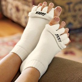 Another pinner said -The Original Foot Alignment Socks Relief for bunions, hammer toes, cramps...and tired feet! They looks strange, but I seriously think these would help my aching feet at night!