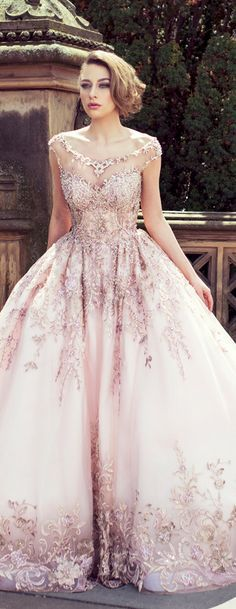 Blush Wedding dress can be worn for as an indian wedding reception dress - something different but modern.