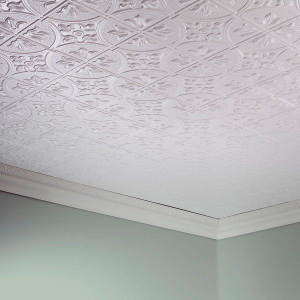 Fasade Traditional Style 2 Matte White 2 X 4 Glue Up Ceiling Tile Pvc Ceiling Tiles Ceiling Tiles Ceiling Tile