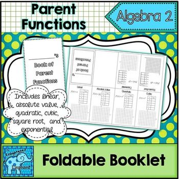 FREE:  This little foldable booklet includes 6 parent functions; linear, absolute value, quadratic, cubic, square root and exponential functions. The booklet is great for INB's!