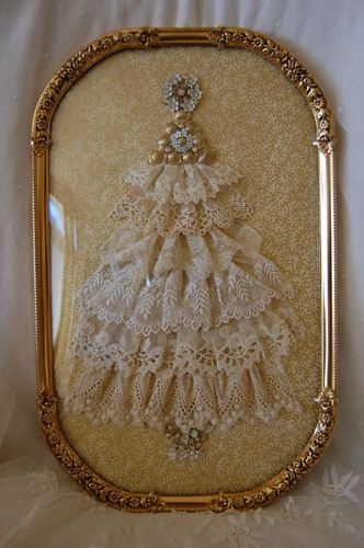Brass Framed Lace Tree with Jewels. Very Cute! I would love to make these!! I love this, too!! CLS