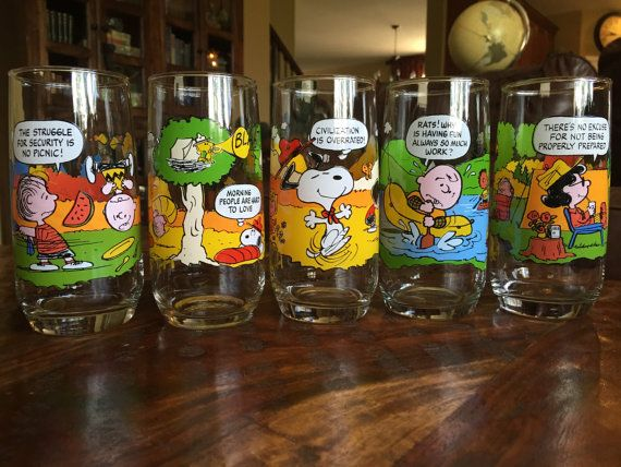 Camp Snoopy Glassware by McDonalds Complete set of 5 by tycaalak