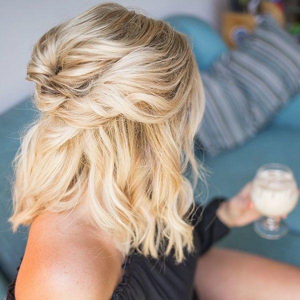 Half-Up-for-Bob Hochzeitsfrisuren für kurzes Haar…