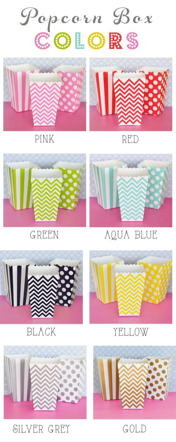 Popcorn Boxes 252 Set - Stripe Polka Dot or Chevron Candy Bar Wedding Favors Party Favor - Aqua Blue Black Green Pink Red Yellow Gold Silver #Pink #Wedding #PinkWedding #Paper