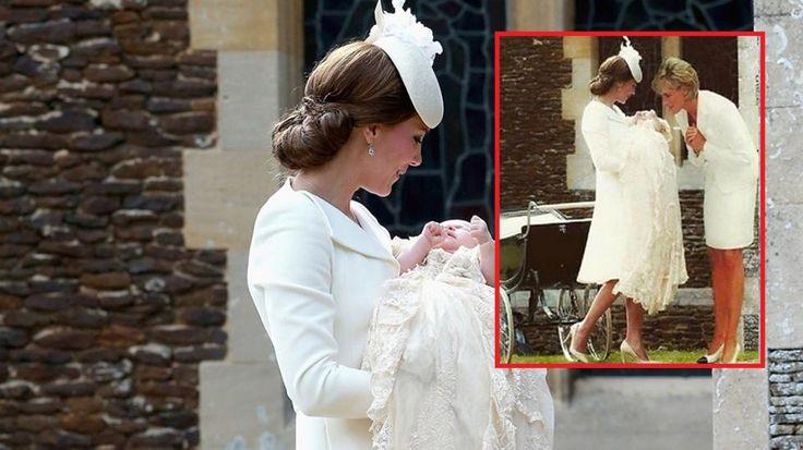 SPRES PÅ INTERNETT: I bildet innfelt holder hertuginne Kate sin datter, prinsesse Charlotte før dåpen. Ved siden av henne er avdøde prinsesse Diana redigert inn.  Foto: NTB Scanpix / Facebook