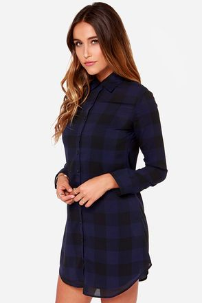 BB Dakota Keenan Navy Blue Plaid Shirt Dress at Lulus.com!