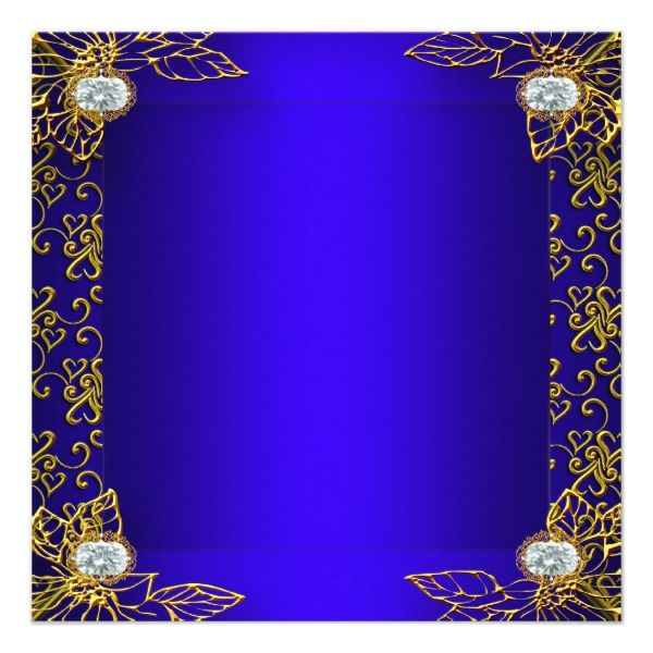 elite quinceanera royal blue gold damask 15th 2 invitation