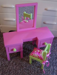 18 Inch Doll Furniture Tutorials | Dressing Table Vanity for American Girl Doll or 18-inch Doll
