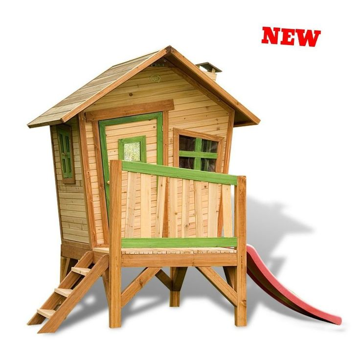 Outdoor Playhouse Wood Raised Slide Countryside Set Child Kid Play Centre Castle