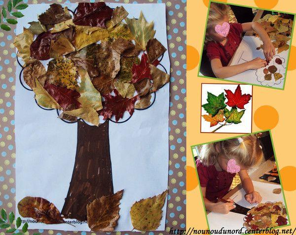 Lison a réalisé un bel arbre d'automne avec les feuilles