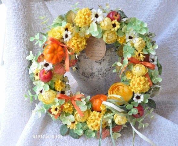 yellow fantasy:orange ribbon wreath