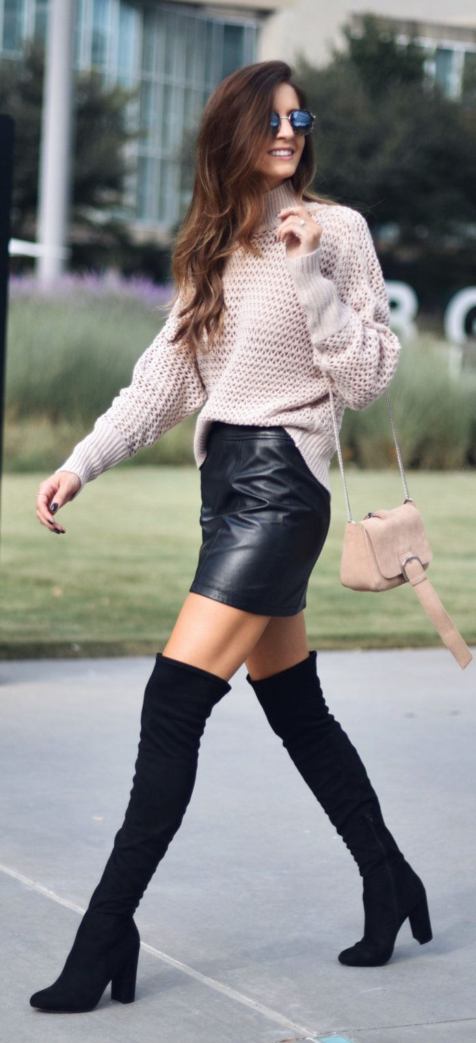 #winter #outfits beige knit turtleneck sweater, black leather mini skirt, pair of black suede chunky-heeled thigh-high boots outfit #highheelbootsskirt #kneehighbootsoutfit #blackhighheelschunky #skirtoutfits #sweatersoutfit #bootsoutfit #blackhighheelsboots