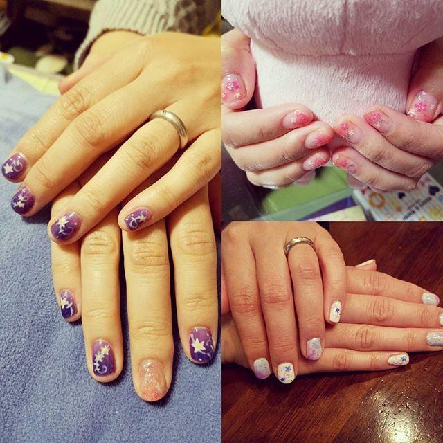#ジェルネイル #FFネイル #お花ネイル #セルフネイル #練習中  お友達に施術させてもらったお爪達✨ 紫ベースのはFF10のユウナの着物の柄イメージ〜 ネイルは楽しいなあ(*´艸`)