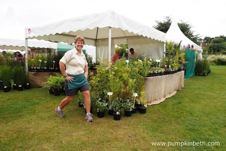 Claire Batten from Penberth Plants, with her super plant stand, at the RHS…