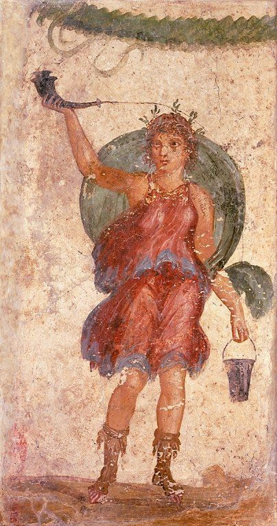Roman wine: Detail from a larger fresco from Pompeii. Bacchus or a Lar holding a drinking horn and a situla.