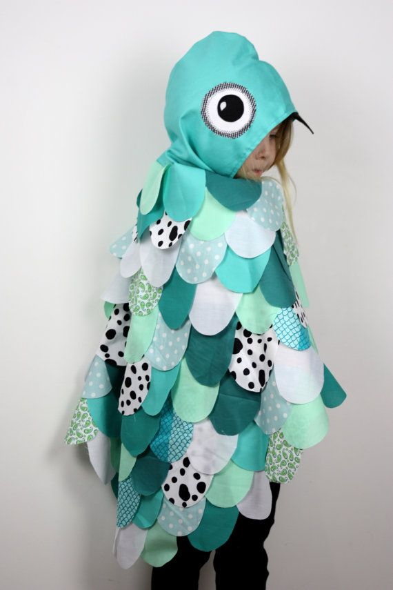 Aqua Owl Cape Childrens Costume  Kids by sparrowandbcostumery