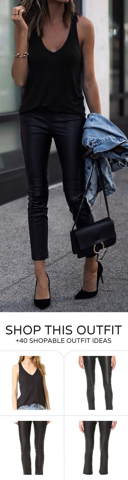#summer #outfits  Black Tank   Black Leather Skinny Pants   Black Pumps